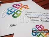 Do oznámení byly vloženy kartičky menšího čtvercového formátu s pozvánkou na svatební oběd a oslavu nebo jen oslavu :-)
