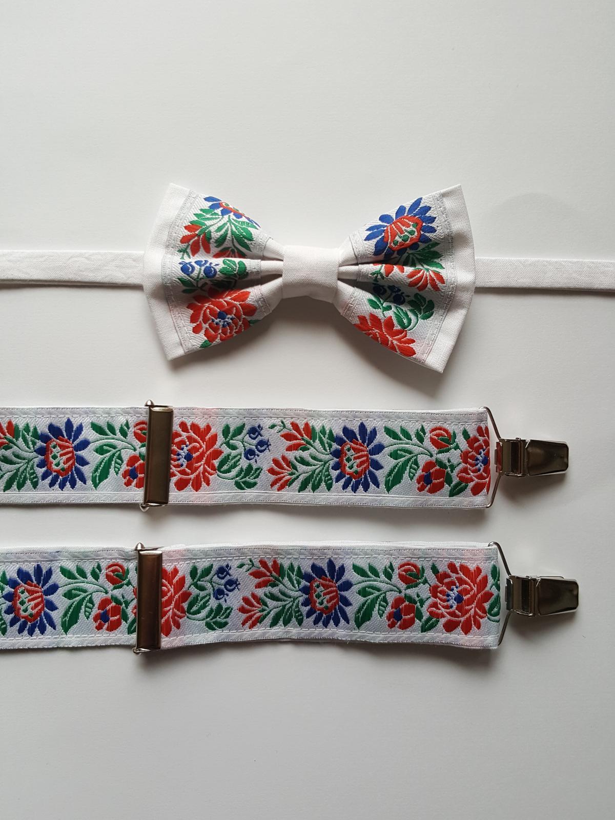 Pánsky folklórny motýlik a traky - set - Obrázok č. 1