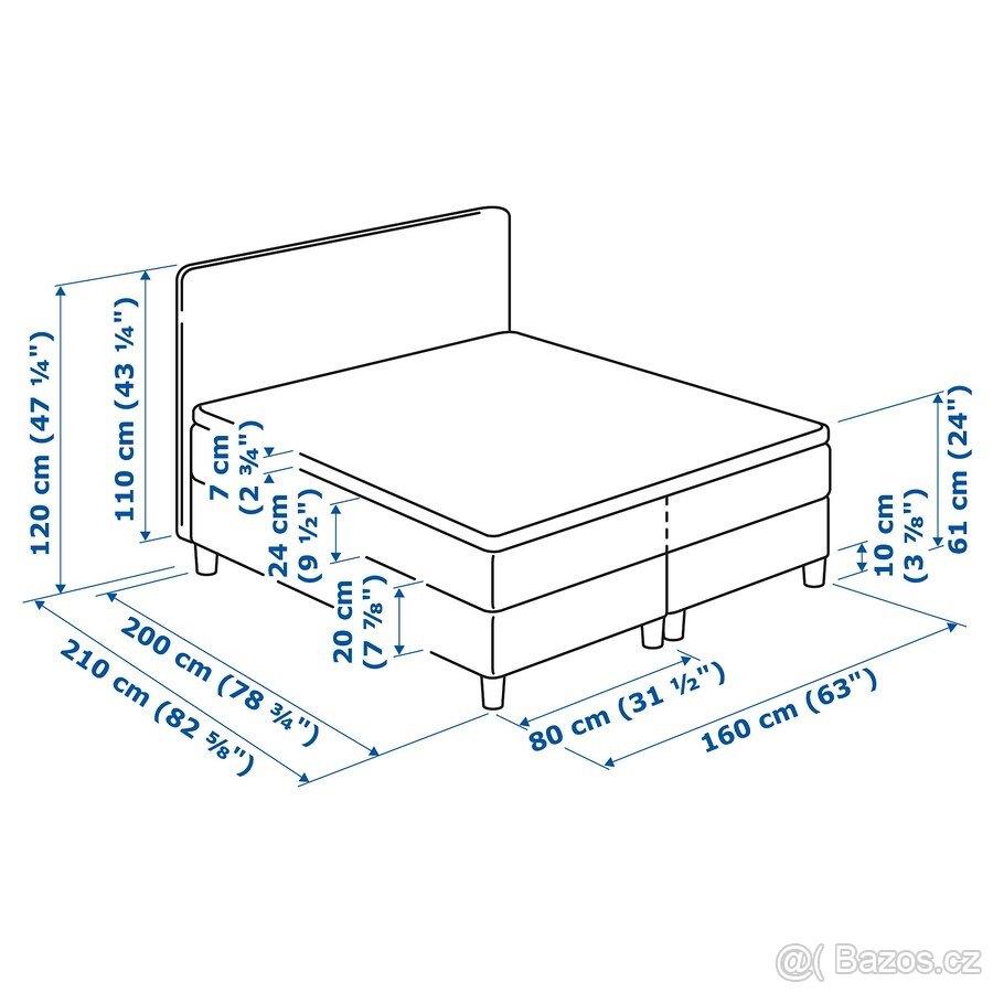 Čalouněná postel Dunvik 160x200cm - Obrázek č. 4
