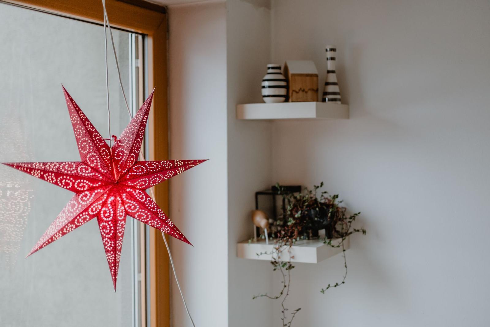 Závěsná svítící hvězda Antique Red - Obrázek č. 1
