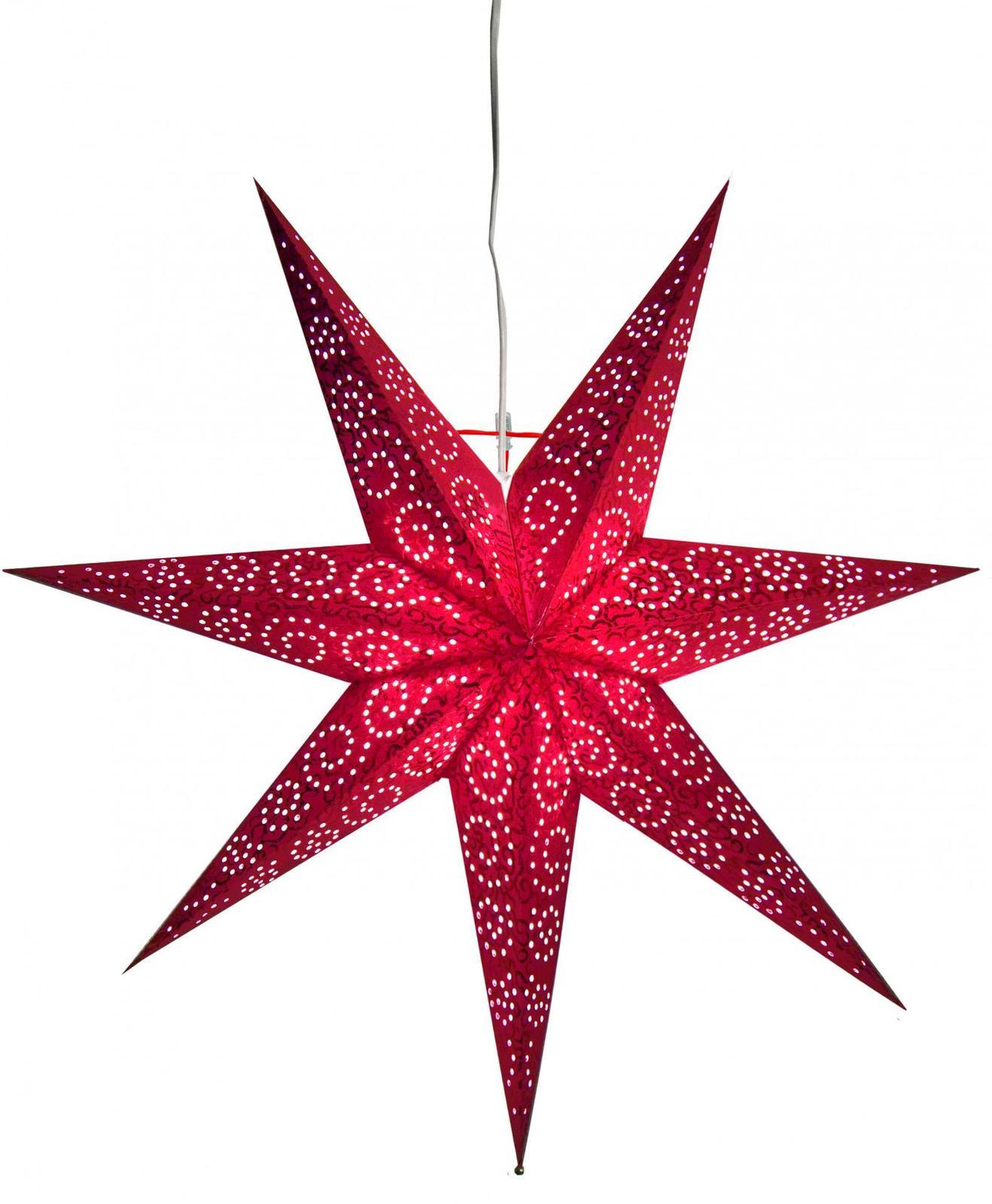Závěsná svítící hvězda Antique Red - Obrázek č. 2