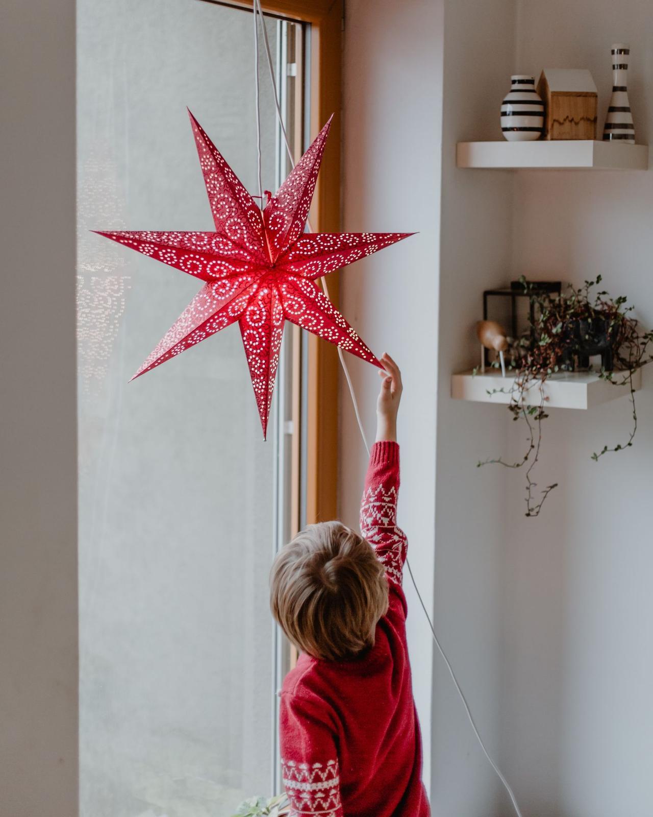 Závěsná svítící hvězda Antique Red - Obrázek č. 3