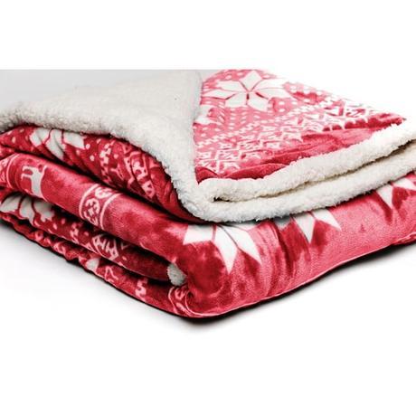 Červená mikroplyšová deka My House Winter, 150 x 200 cm - Obrázek č. 2
