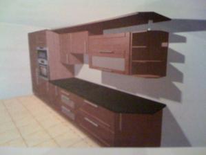První návrh kuchyně - stěna naproti dveřím z chodby - jen světlou barvu