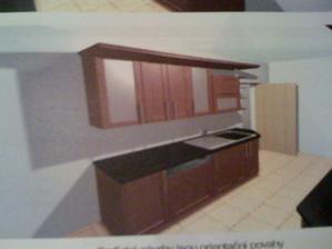 První návrh kuchyně - stěna u dveří... jen bysme chtěli světlou barvu