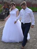 Princeznovské tylové svatební šaty + závoj zdarma, 40