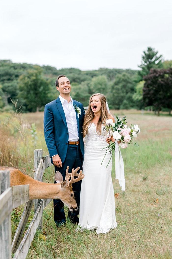 Odvážny jeleň sa zapojil do svadobného fotenia - Obrázok č. 8