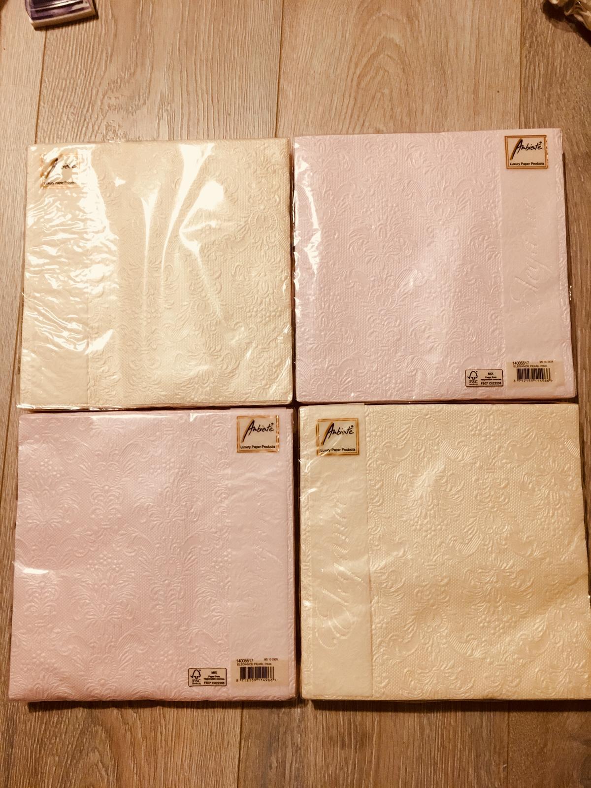 Perletove servitky smotanove a svetloružove -zlava - Obrázok č. 2