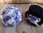 Fialova svatebni šerpa na auto ženicha a nevěsty ,