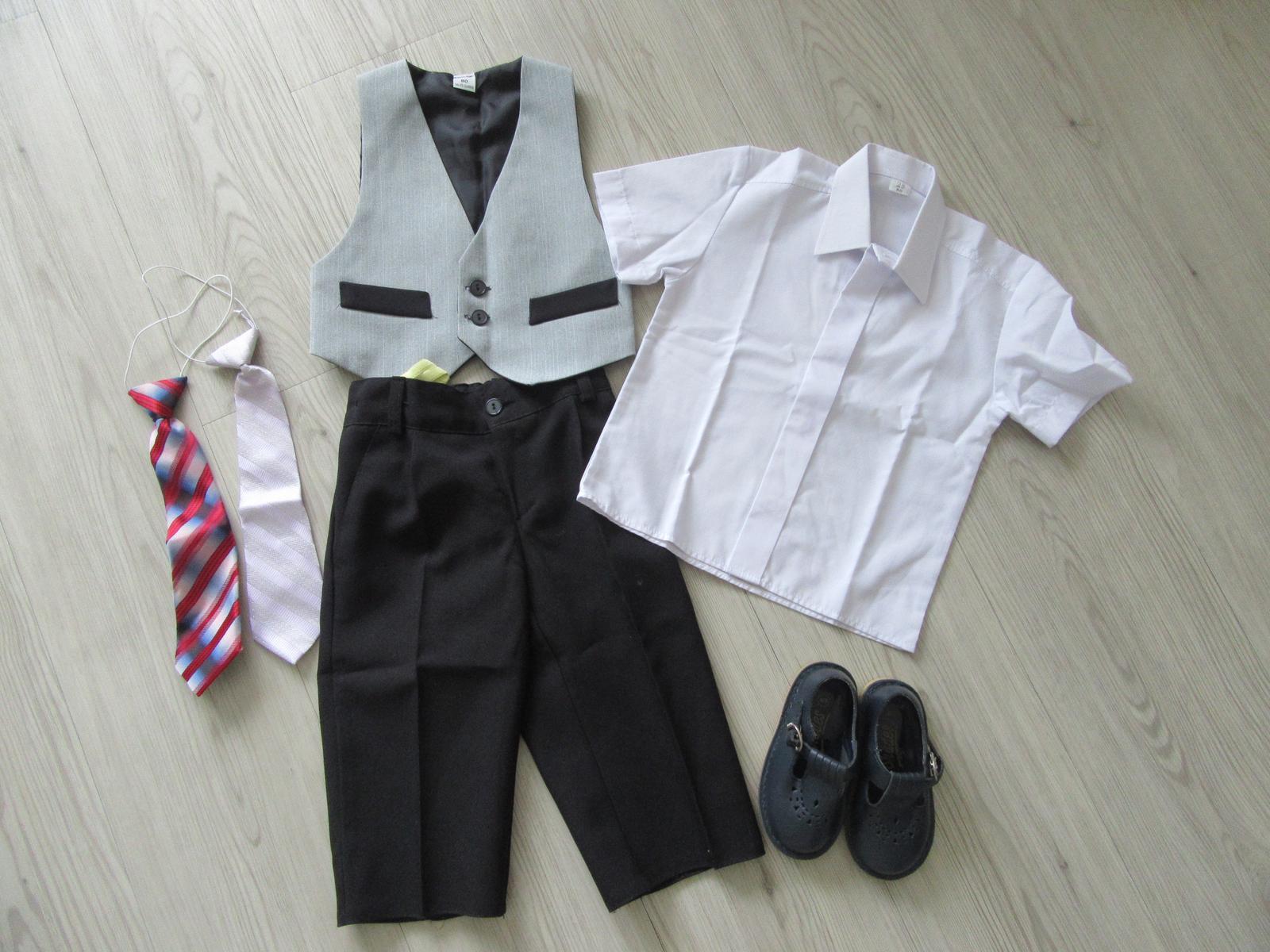 Dětský oblek, kravata 2x a boty vel 80 - Obrázek č. 1