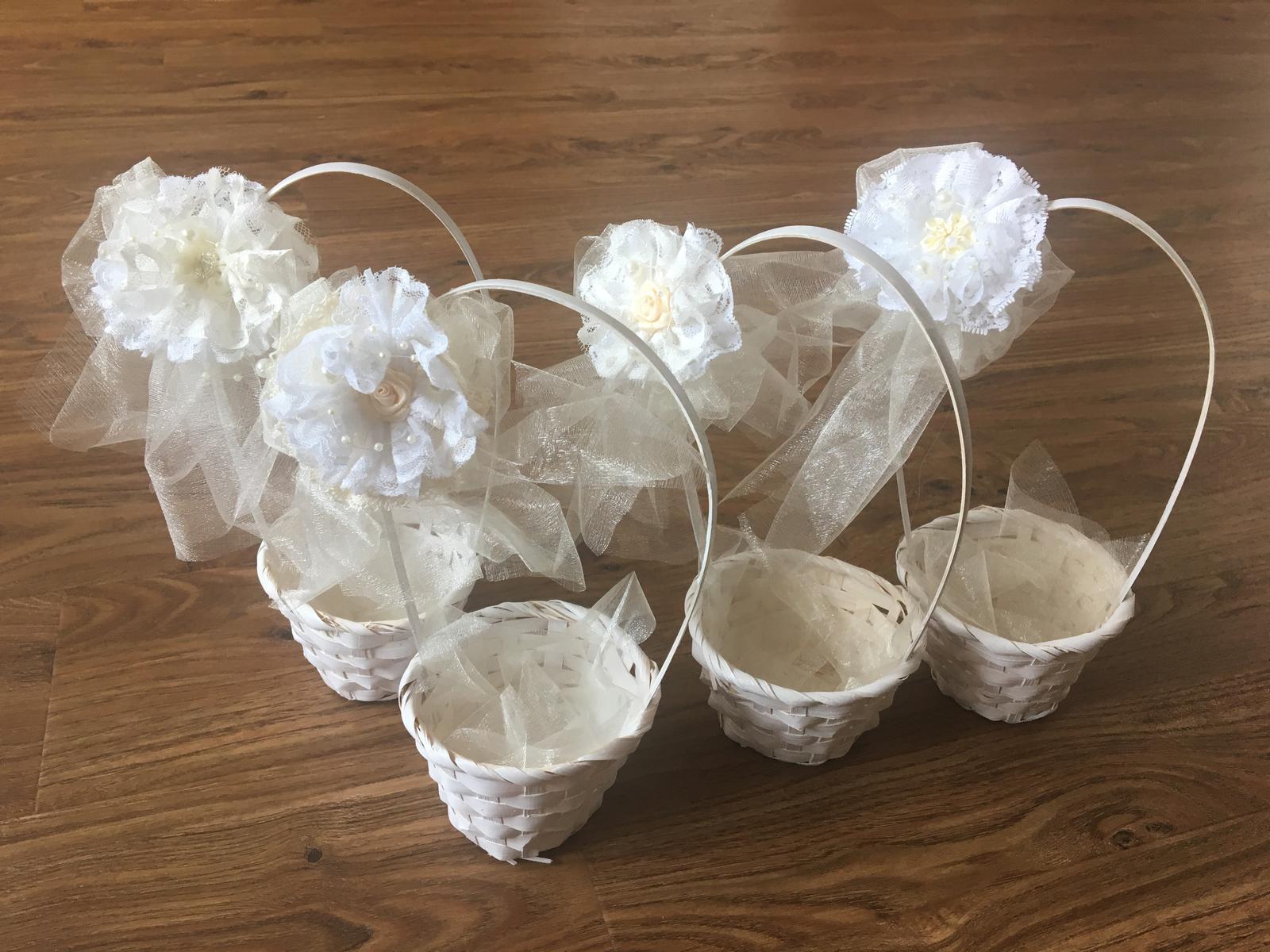 Košíčky pro družičky - bílá + šampaň 4ks - Obrázek č. 1