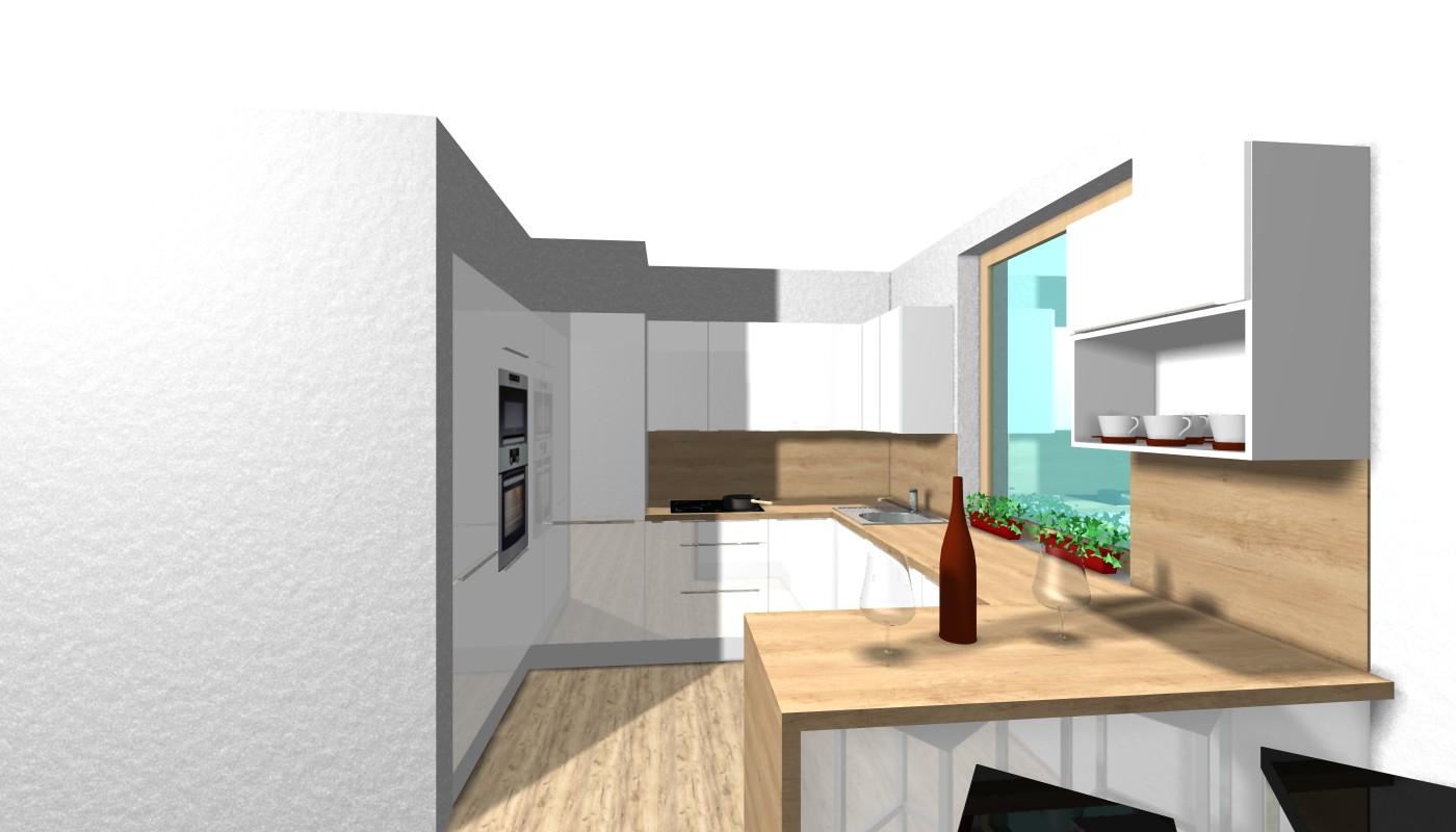 Návrh kuchyně - V rohu skryté dveře od spíže za kuchyní