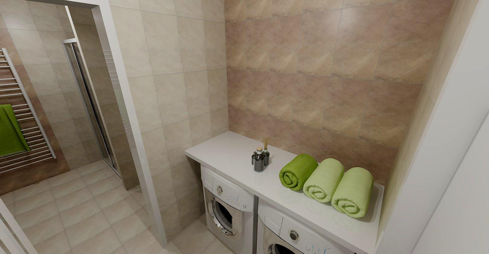 Návrh koupelny - Malá prádelna oddělená příčkou