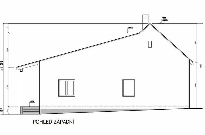 Domeček rekonstruujeme pro rodiče - Pohled z průjezdu nový stav