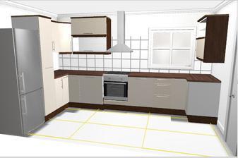 Vítězná kuchyň v plánovači Ikea - skříňky budou všechny stejně vysoké to Ikea moc neumí