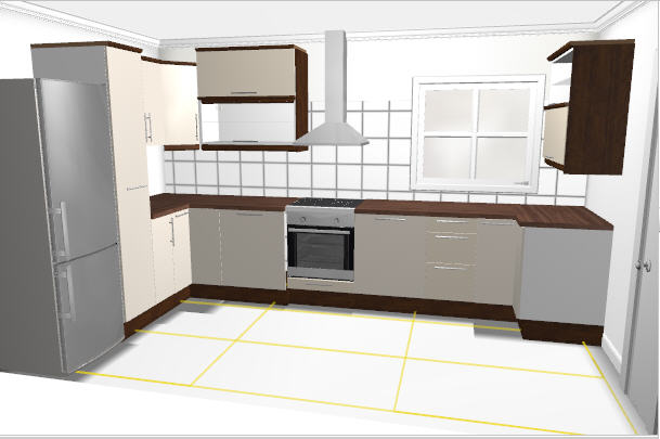 Rekostrukce našeho bydlení - Vítězná kuchyň v plánovači Ikea - skříňky budou všechny stejně vysoké to Ikea moc neumí