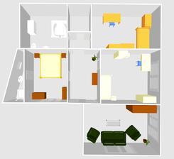Menší změna... Ložnice bude v malém pokoji a obývák zůstane náhradním obývákem.