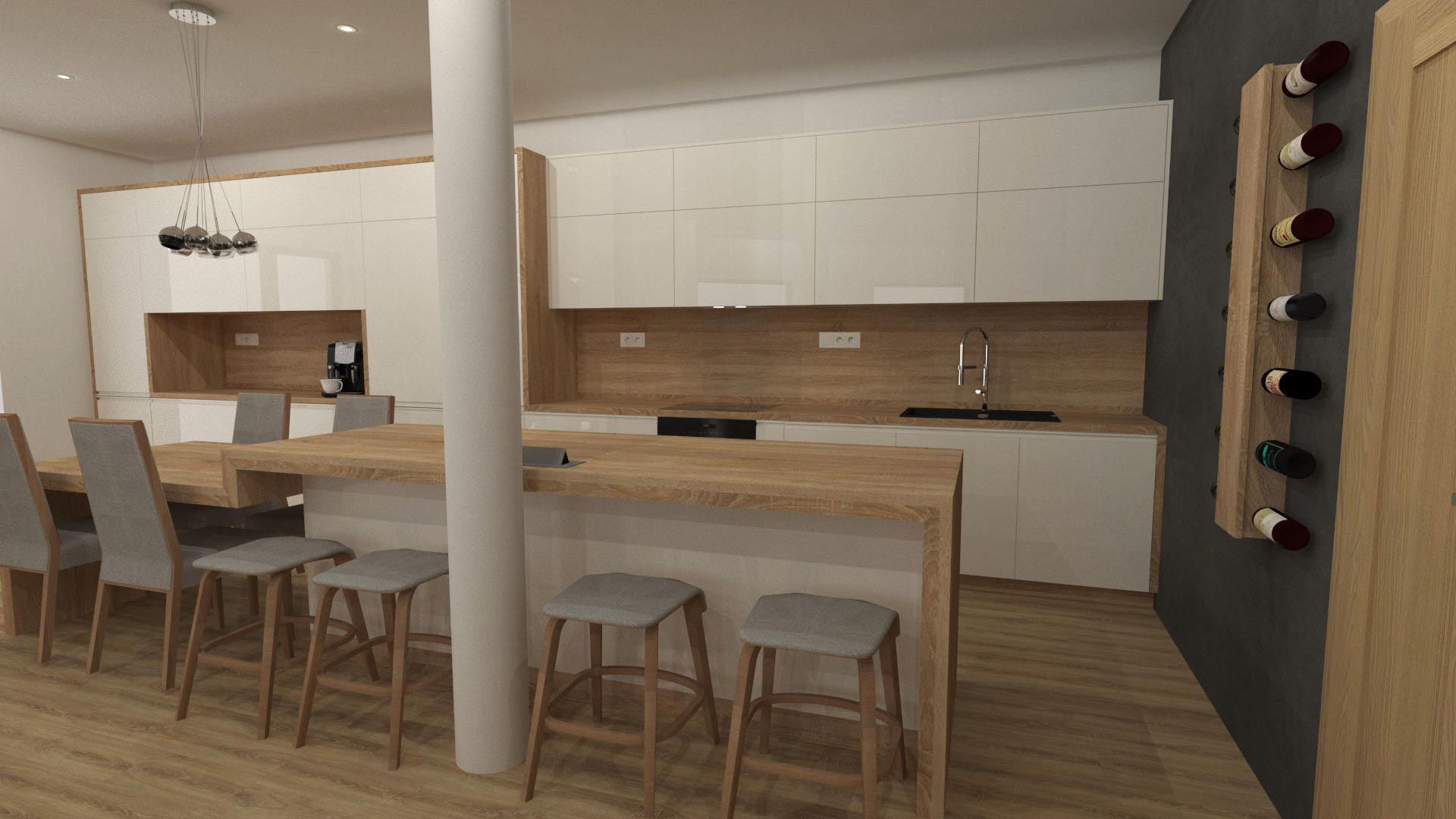 Kuchyně - Bílá ve vysokém lesku v kombinaci s dube Bardolino.