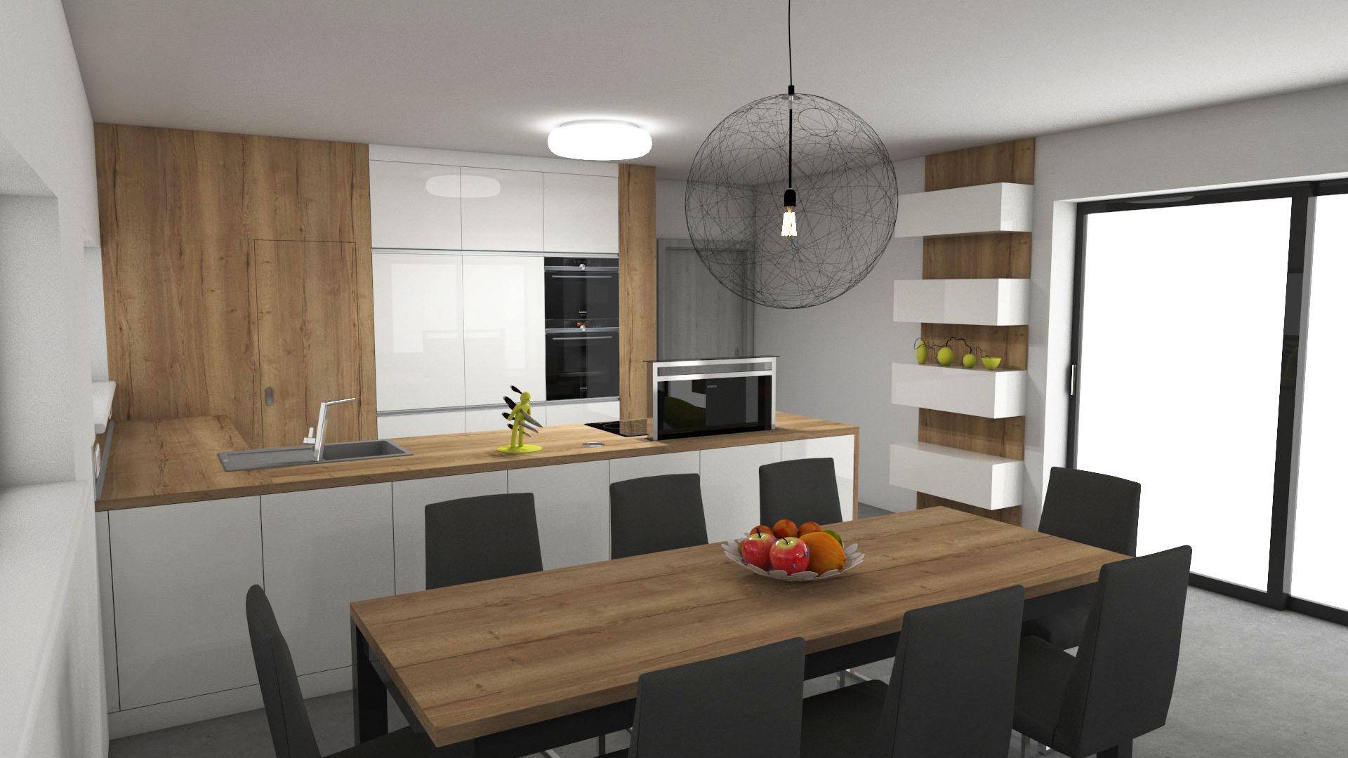 Kuchyně - Bílá v super lesku v kombinaci s dubem Halifax přírodní má prostě své kouzlo.