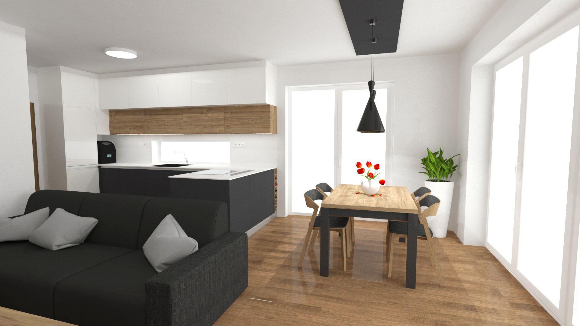 Kuchyně - Bílá vysoký lesk, antracit, dub Kanvas přírodní.