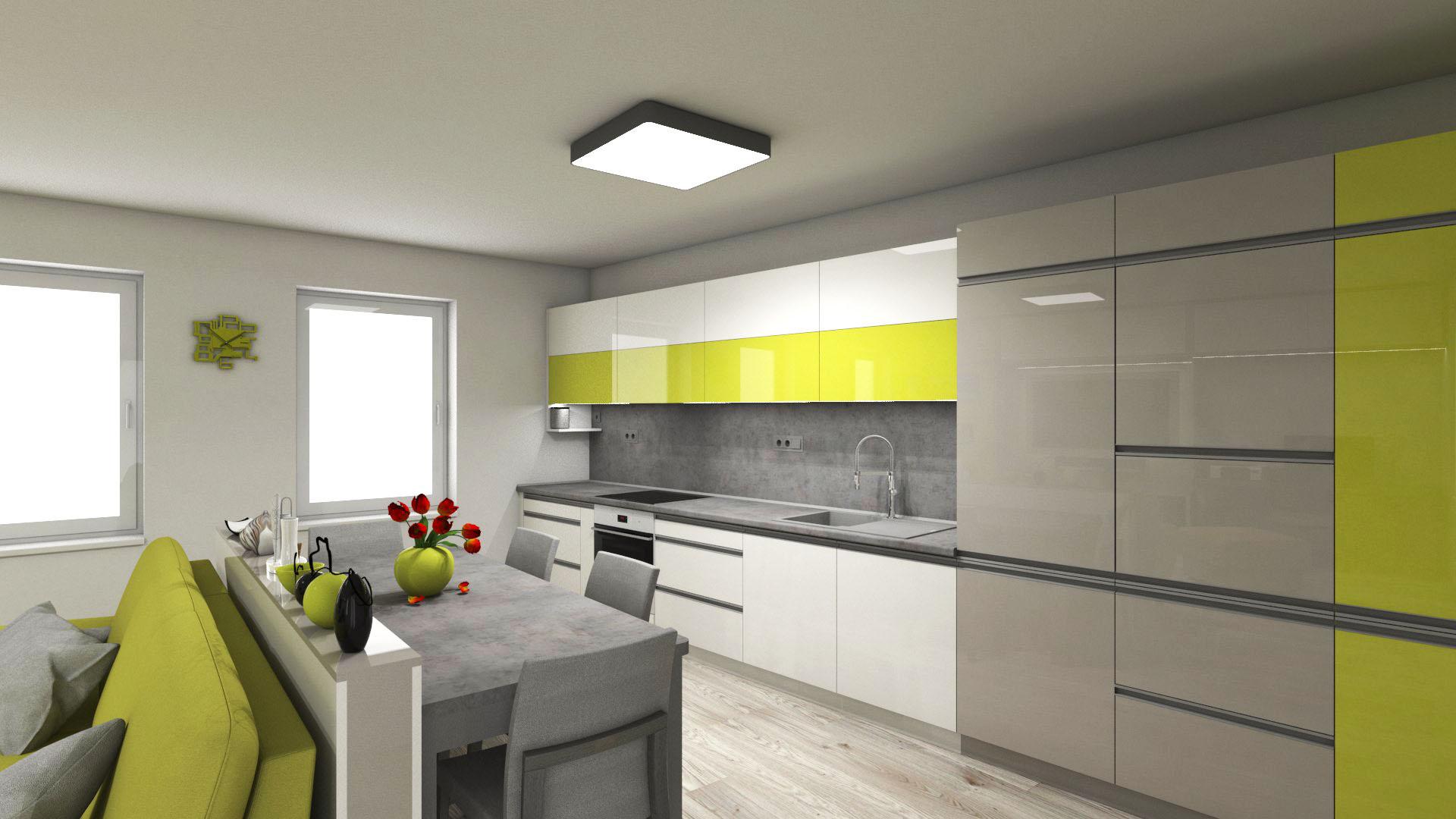Kuchyně - Bílá, šedá, zeleno-žlutá ano i takto může vypadat svěží interiér.
