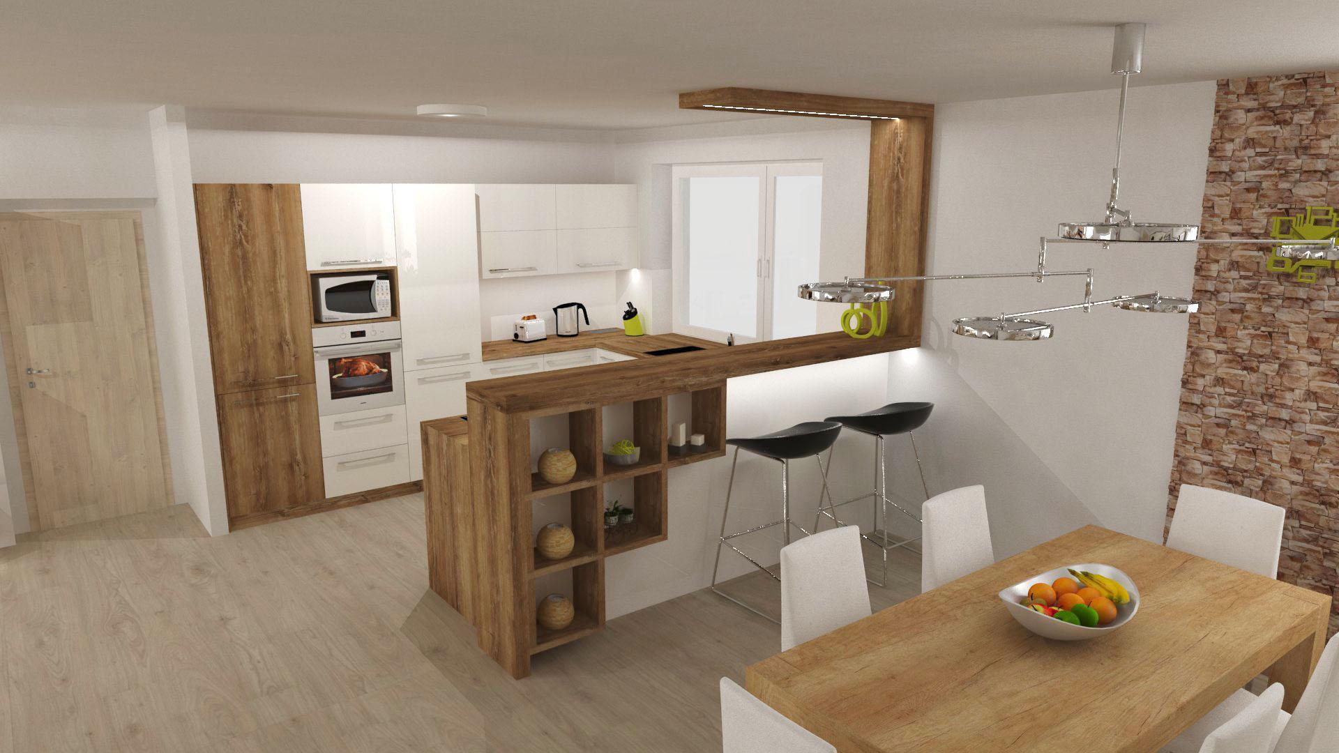 Kuchyně - Bílá ve vysokém lesku s divokou třešní.