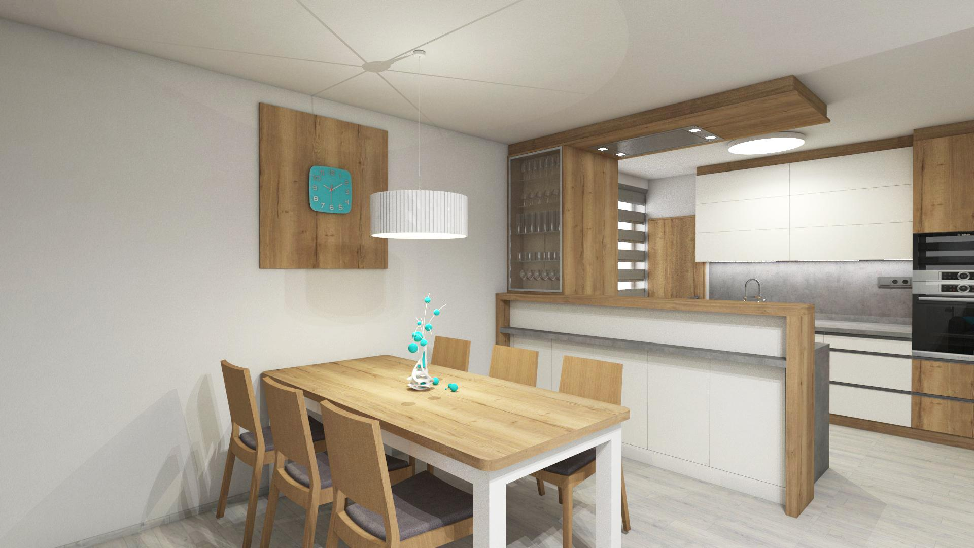 Kuchyně - I v malém prostoru se dá vymyslet komfortní řešení kuchyně, tak aby vyhovovala přání klienta. Opět populární bílá ve vysokém lesku s dubem Halifax přírodním.