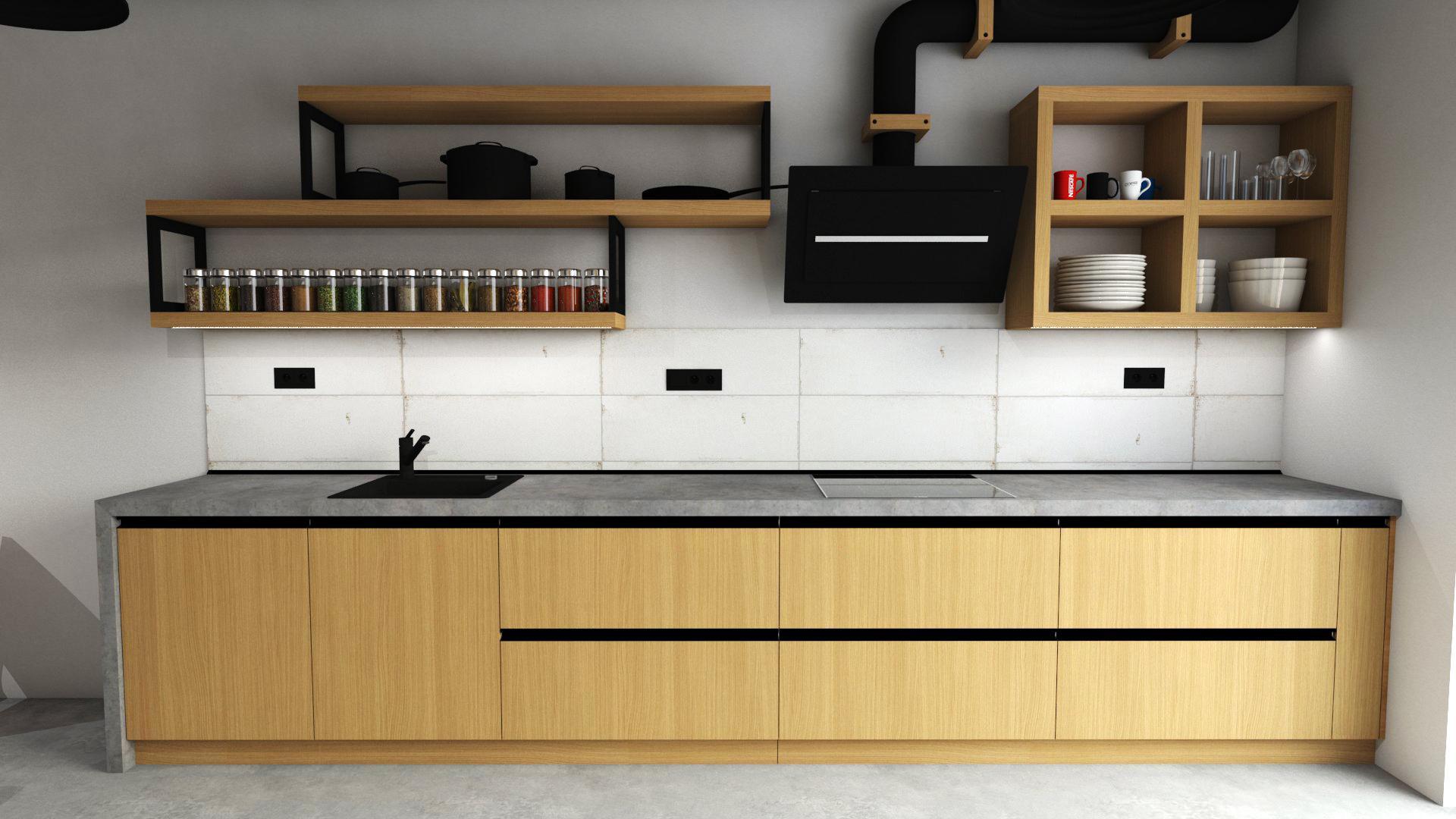 Kuchyně - Moderní kuchyně s industriálními rysy. Imitace betonu a masivní dubové dýhy dodává kuchyni ten správný šmrnc.