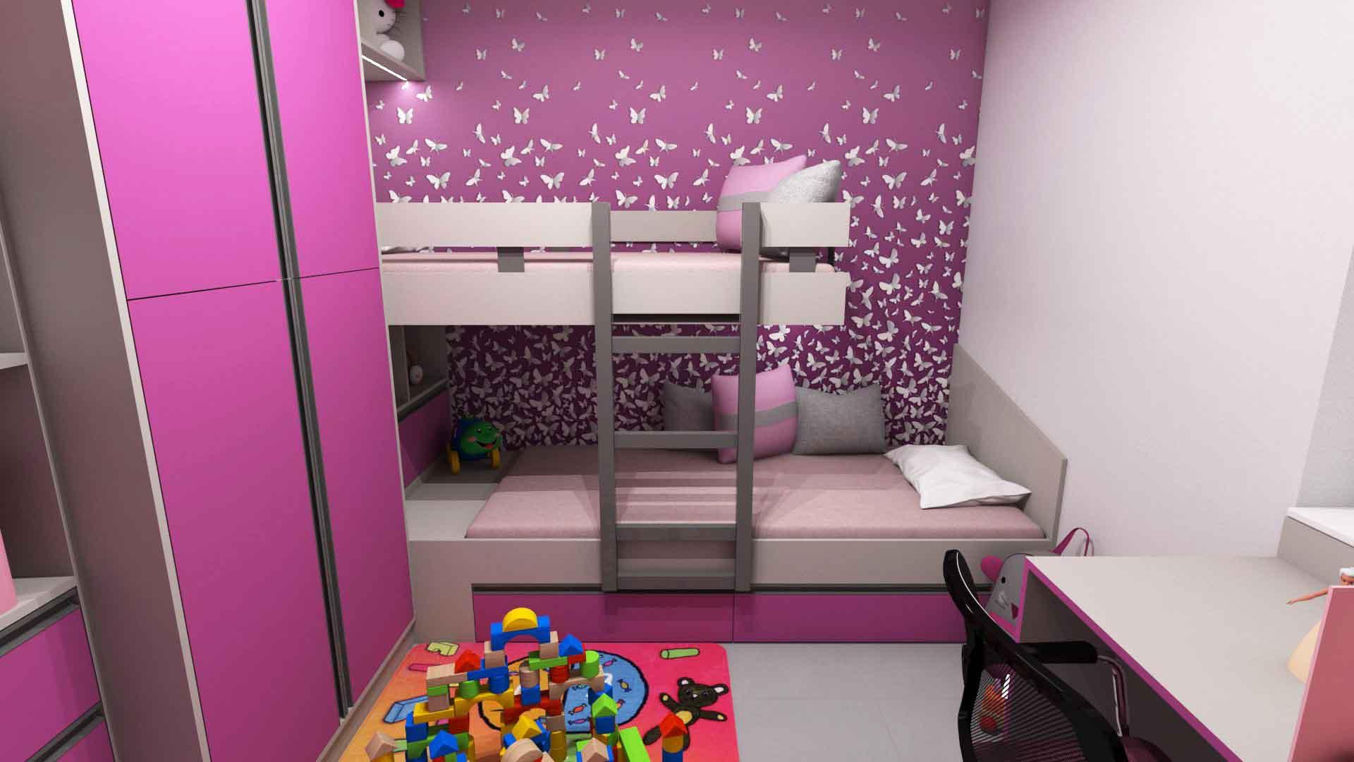Dětské pokoje - Dětský pokojík pro dvě holky s patrovou postelí. I v malém prostoru se dá vyřešit pokojík pro dvě děti. Šedo - růžová kombinace tomuto pokojíku velmi prospěla.