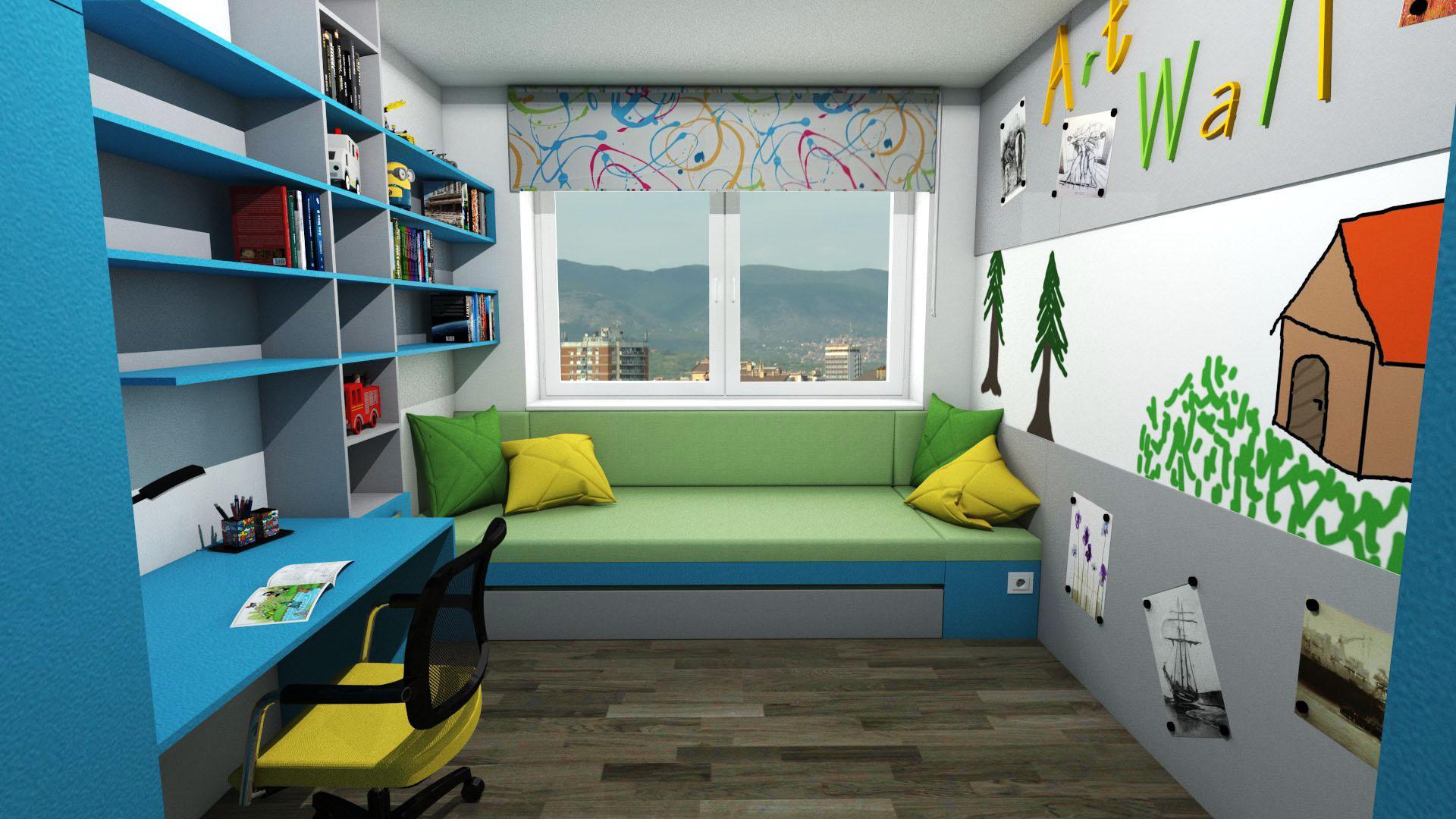 Dětské pokoje - Dětský pokoj s velkou postelí + příležitostné přespání kamaráda. Barevně laděno šedá, zelená, modrá - tyrkys.