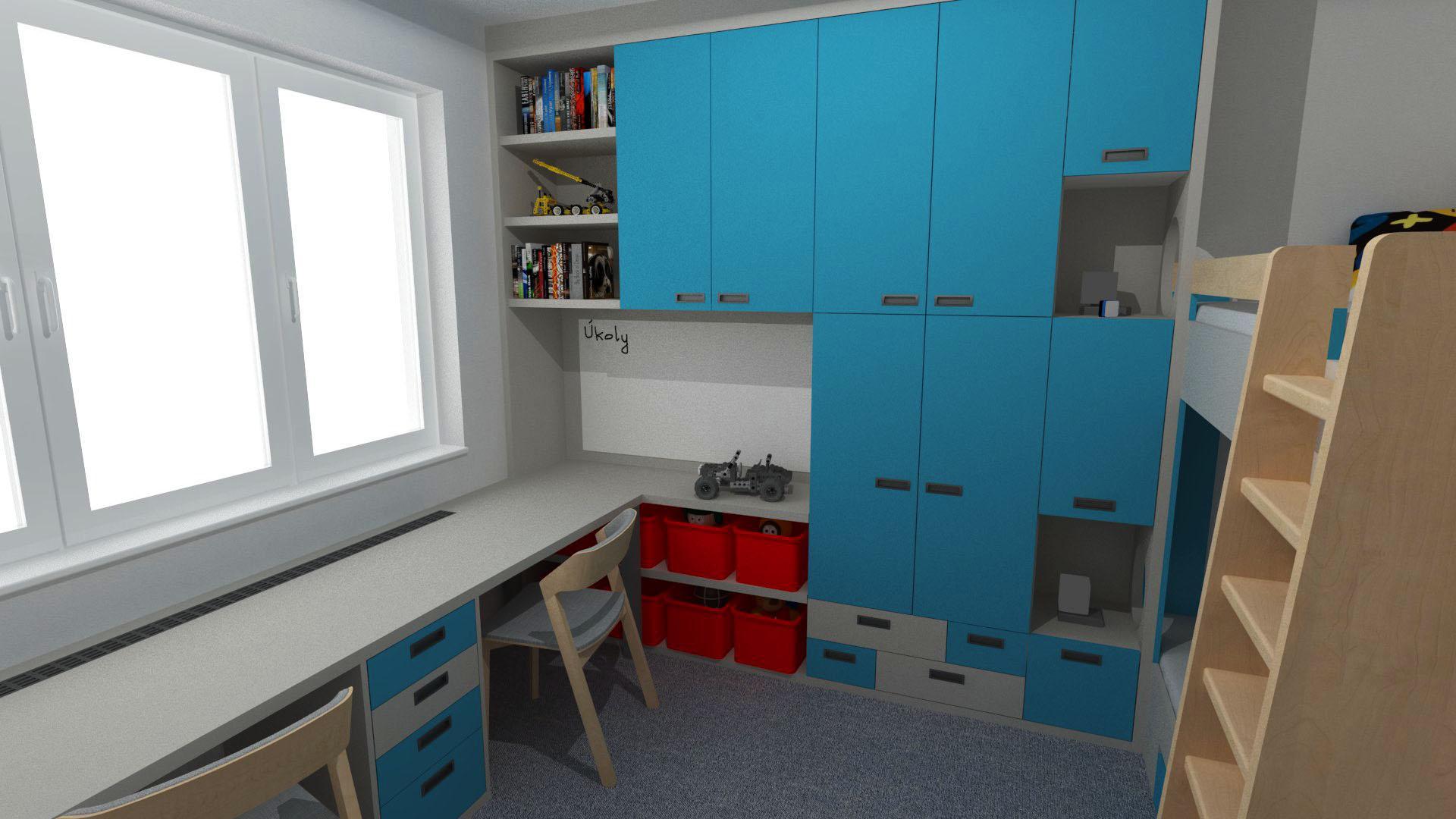 Dětské pokoje - Dětský pokojík s patrovou postelí a velkým pracovním stolem pro dvě děti. Barevná kombinace sv. šedá, dřevo a tyrkysově modrá.