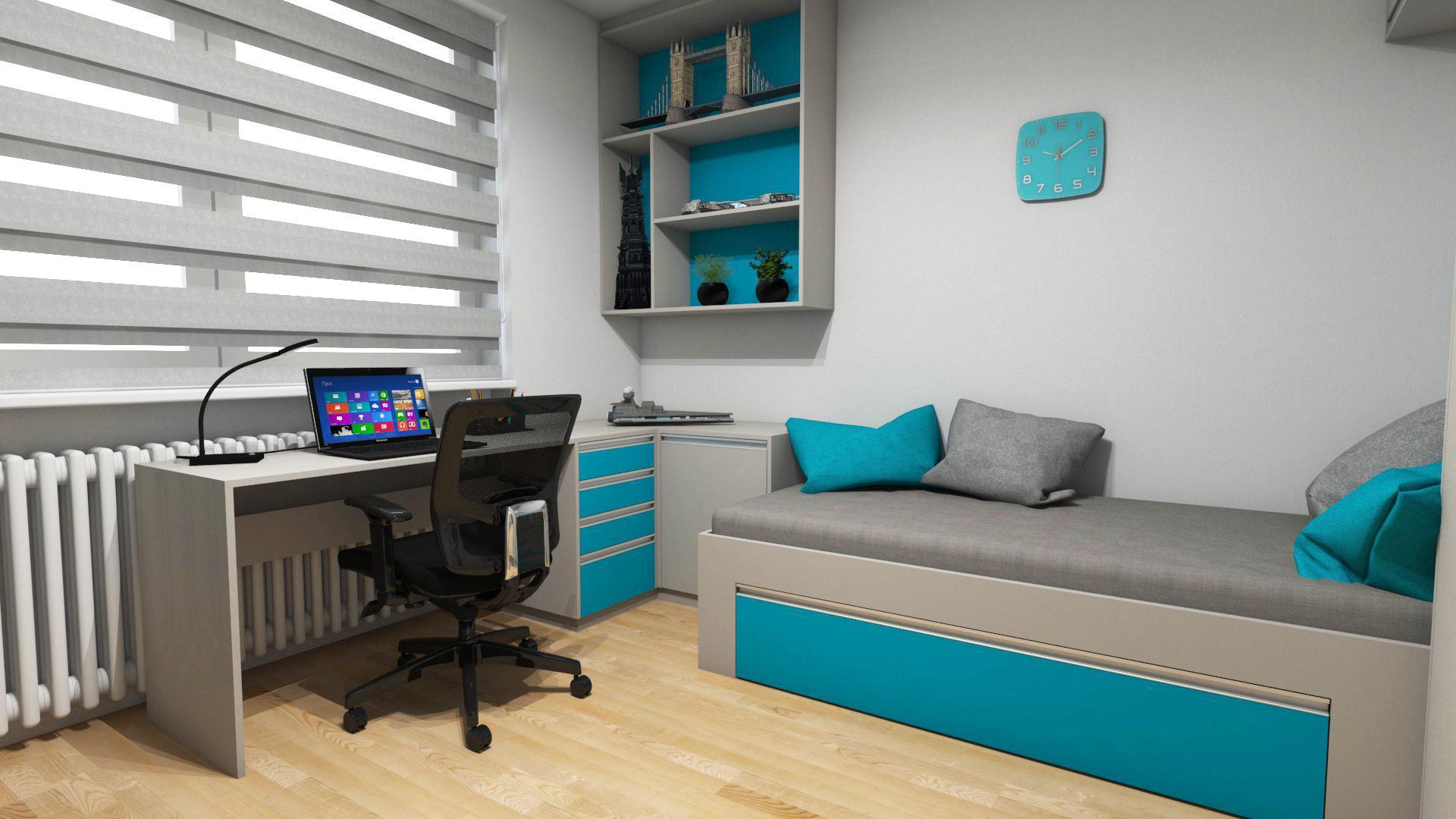 Dětské pokoje - Dětský pokoj pro studenta s 3D tapetou, sedačkou. Barevná kombinace šedé tóny doplněné o tyrkysově modrou.