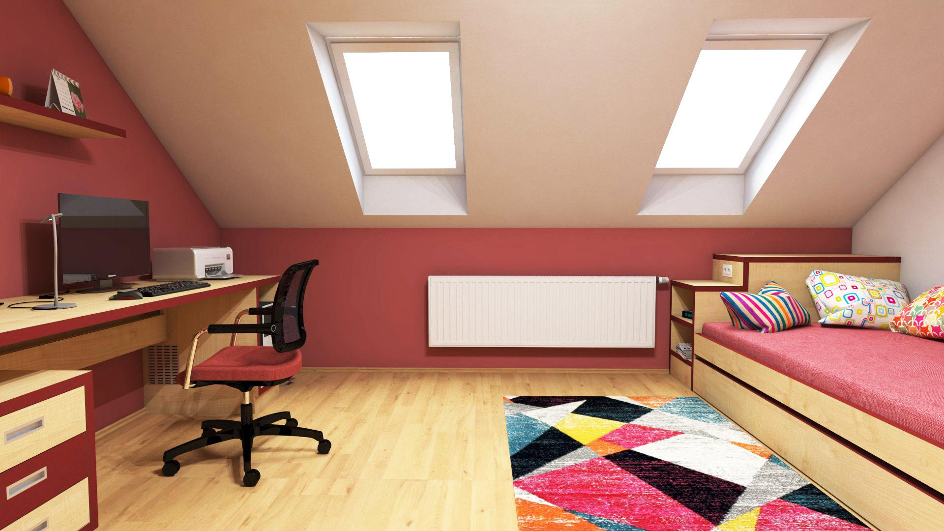 Dětské pokoje - Dětský pokojík pro holku v podkroví. Postel s možností příležitostného přespání. Dřevodekor v kombinaci s vínově červenou.