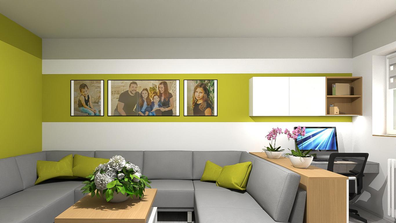 Vizualizace obývacího pokoje s pracovnou pro klienta. Kombinace bílé ve vysokém lesku, dubové dýhy, betonového dekoru a vše oživeno výmalbou. - Obrázek č. 1