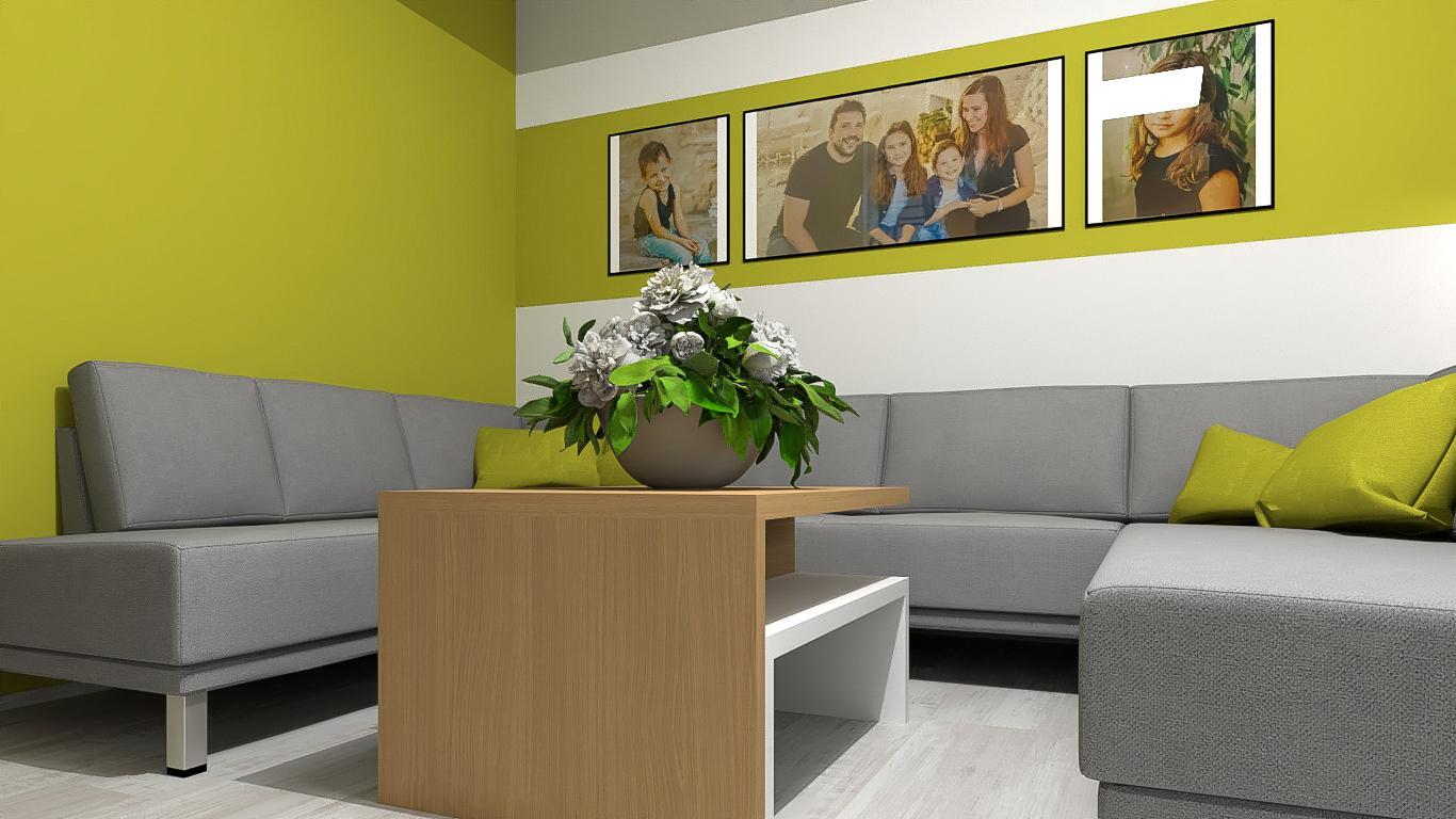 Vizualizace obývacího pokoje s pracovnou pro klienta. Kombinace bílé ve vysokém lesku, dubové dýhy, betonového dekoru a vše oživeno výmalbou. - Obrázek č. 2