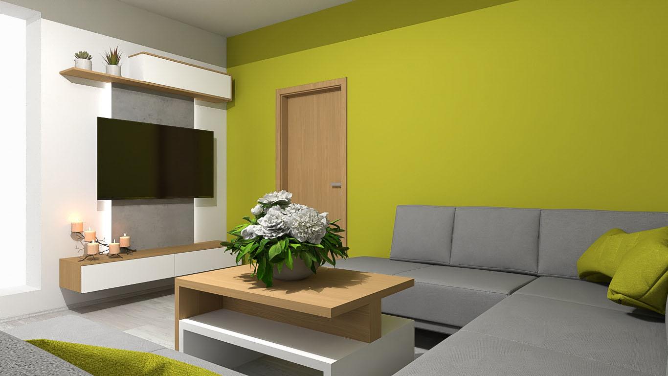 Vizualizace obývacího pokoje s pracovnou pro klienta. Kombinace bílé ve vysokém lesku, dubové dýhy, betonového dekoru a vše oživeno výmalbou. - Obrázek č. 3