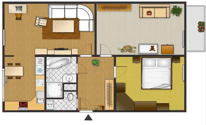 Finální verze rozpístění pokojů a koupelny