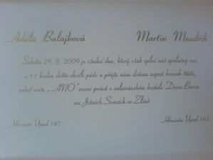 text ve svatebním oznámení