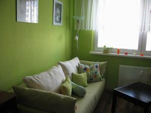 spaci kutik, rozkladacia pohovka, pruzinove matrace..je zeleno smotanova..zial nevidno moc dobre