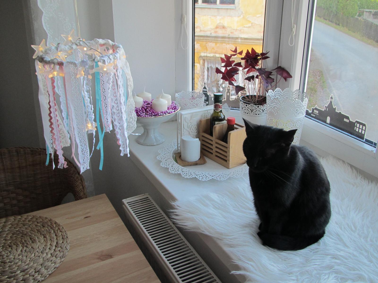 """U nás... - """"Lustr"""" nad stolem je můj výtvor-LED světýlka,stužky a krajky...."""