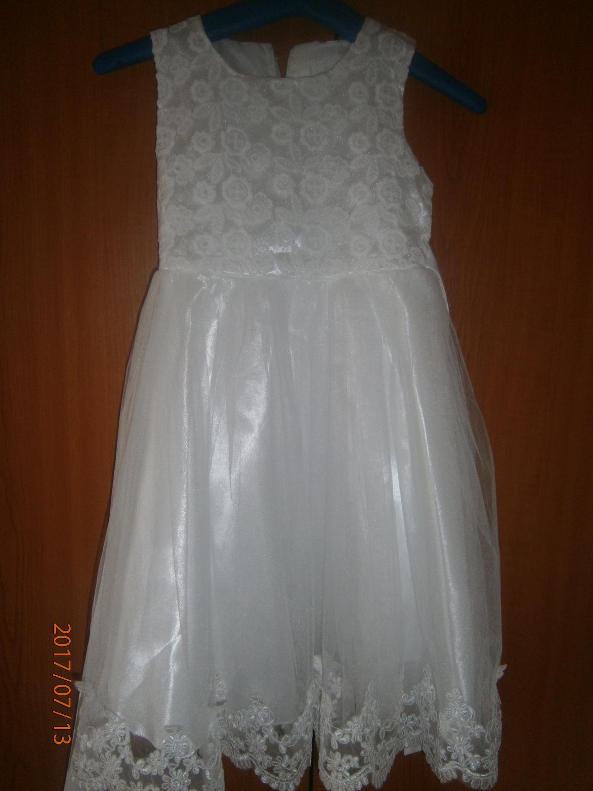 spoločenské dievčenske biele šaty - Obrázok č. 2