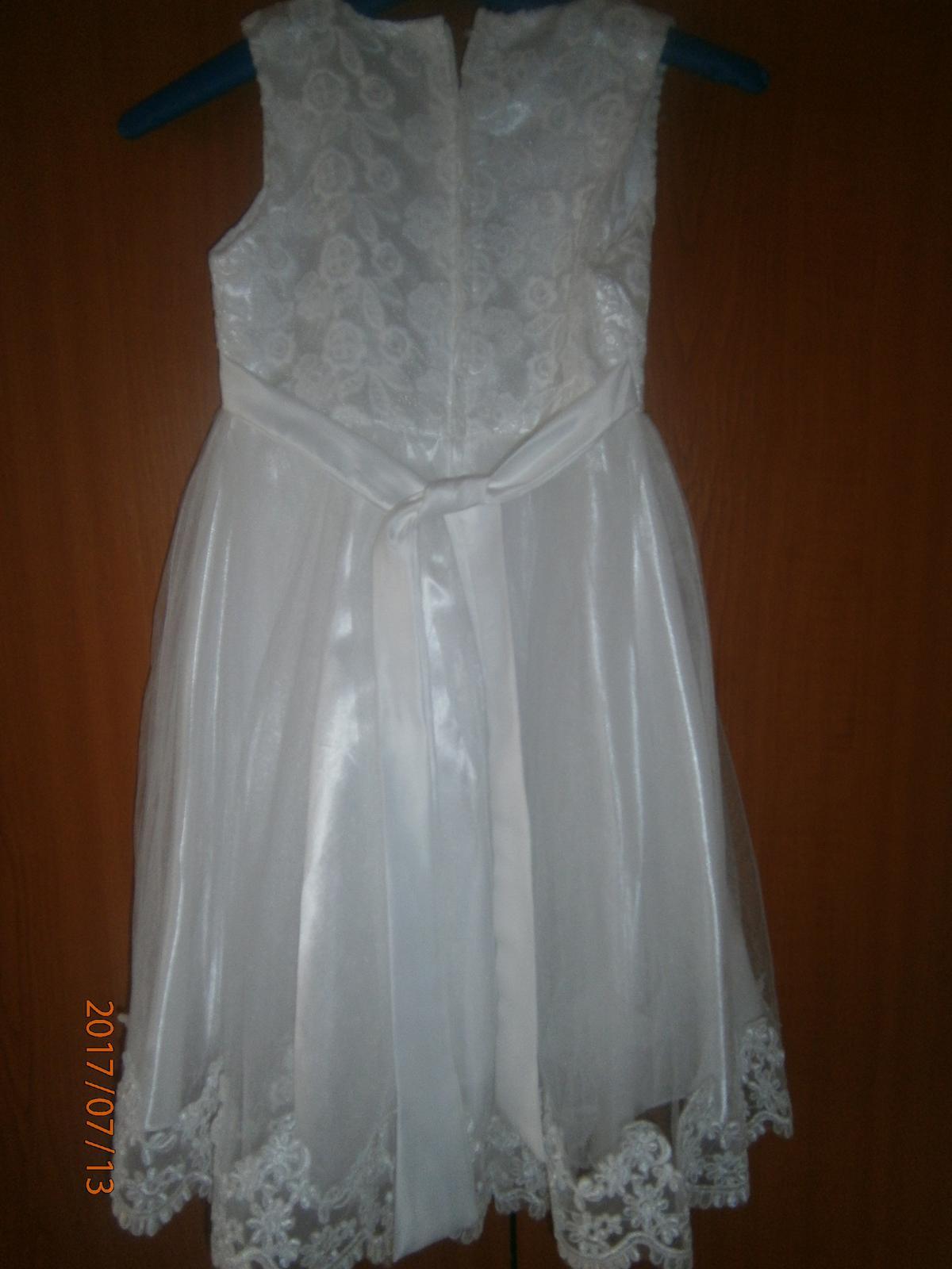 spoločenské dievčenske biele šaty - Obrázok č. 3