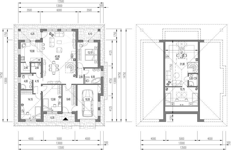 Náš budúci domov - pôdorys na vrchnom poschodí sme to zmenili. Obytný bude celý vrch nie len stred.