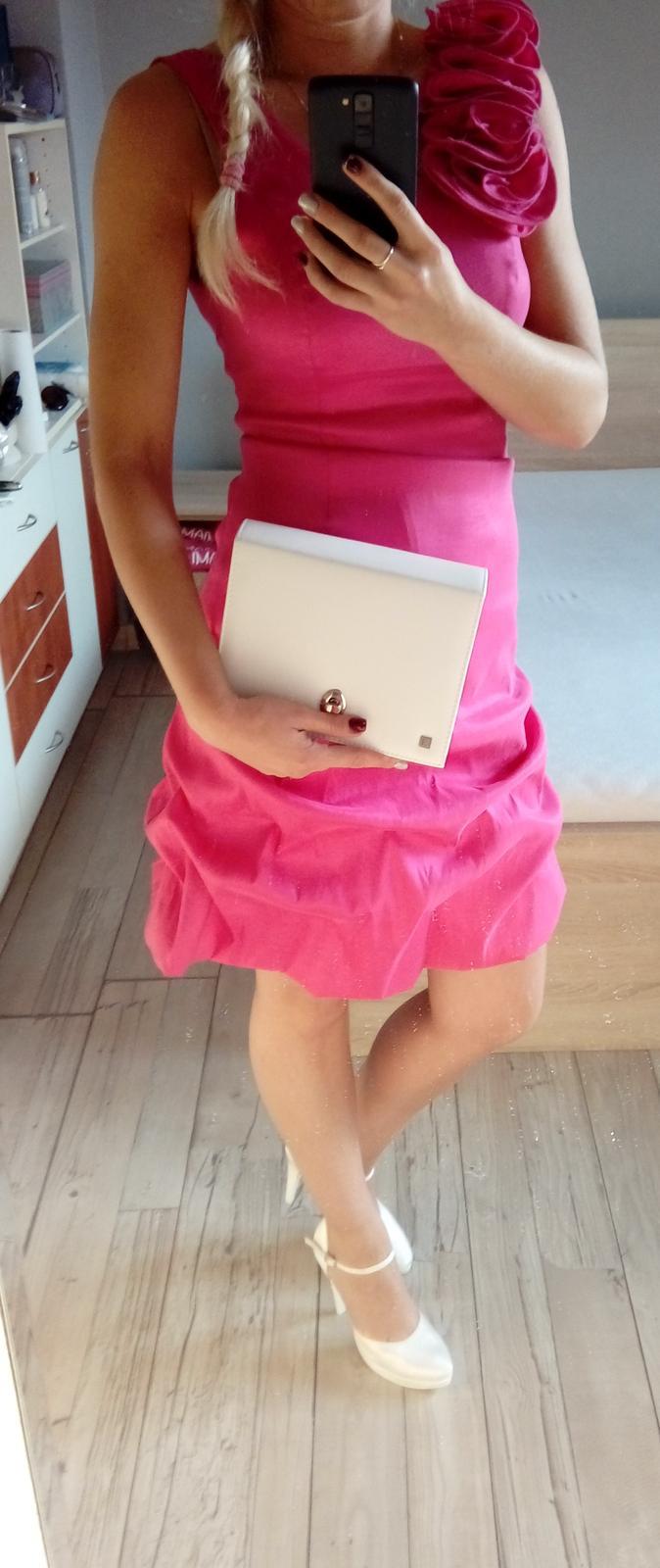 Ružové šaty zn. Aasar veľkosť 38 - Obrázok č. 1