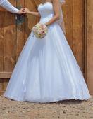 Princeznovské korzetové šaty - snehovo biele, 34