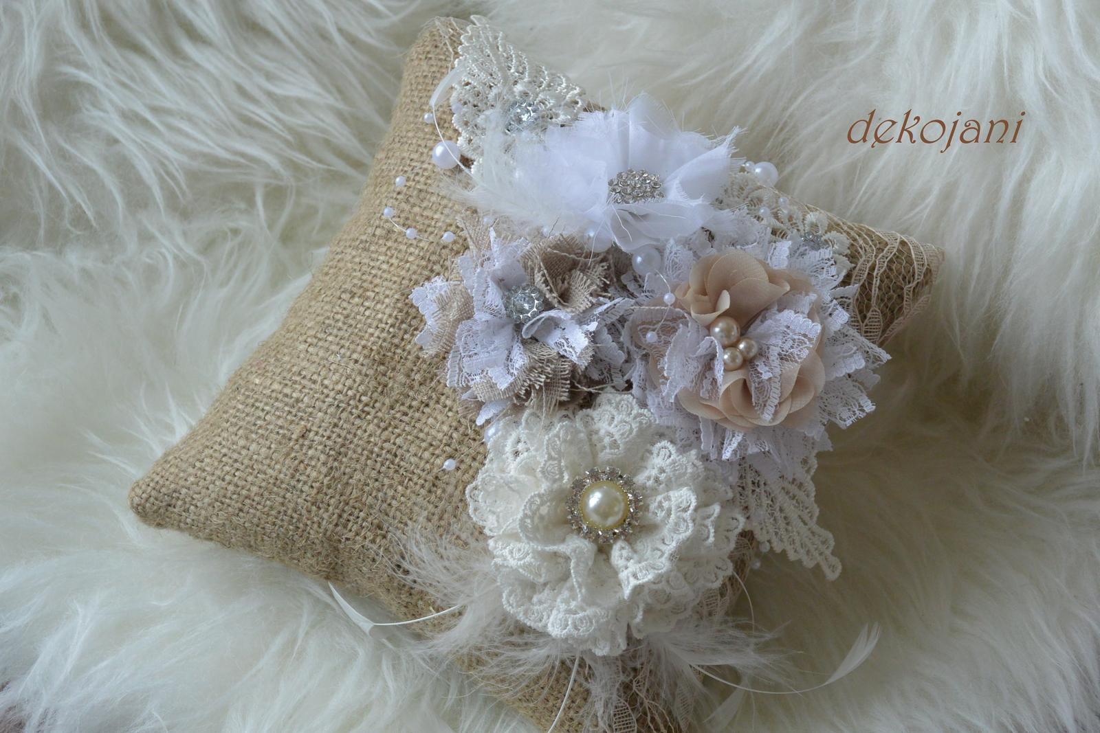 Svatební jutový polštářek ve vintage stylu - Obrázek č. 1