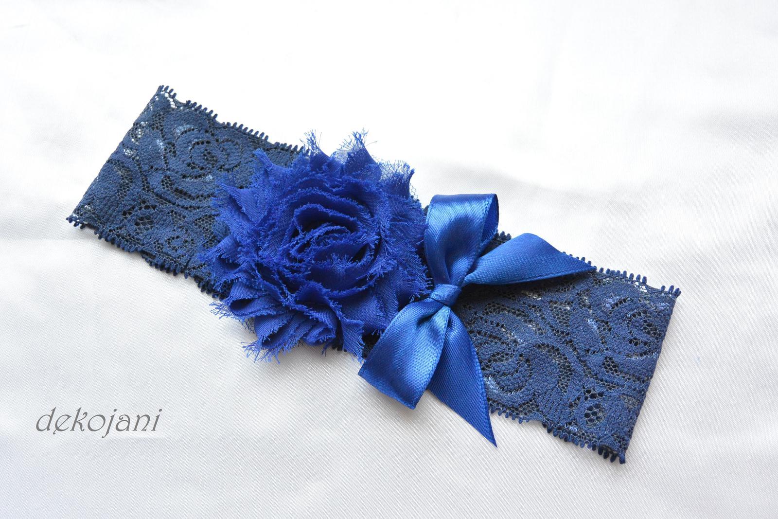 Krajkový podvazek tmavě modrý S-XXXL - Obrázek č. 1