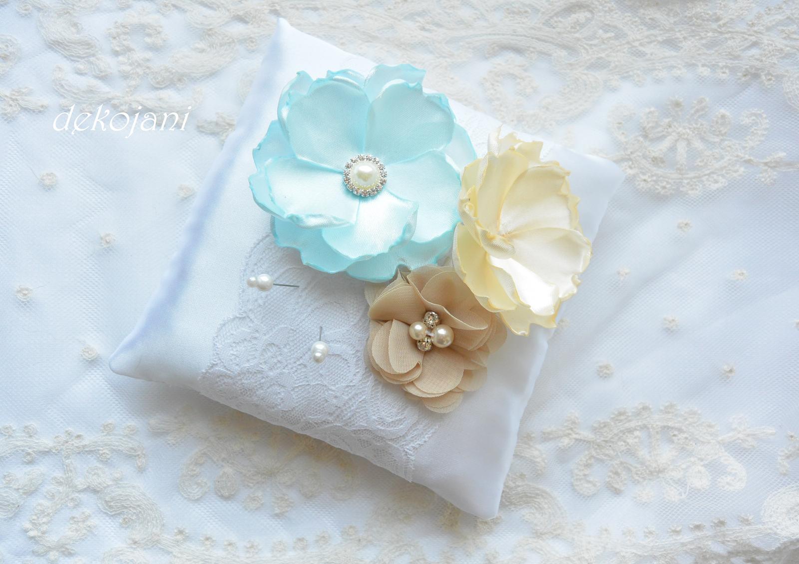 Svatební polštářek mint blue a béžová - Obrázek č. 1