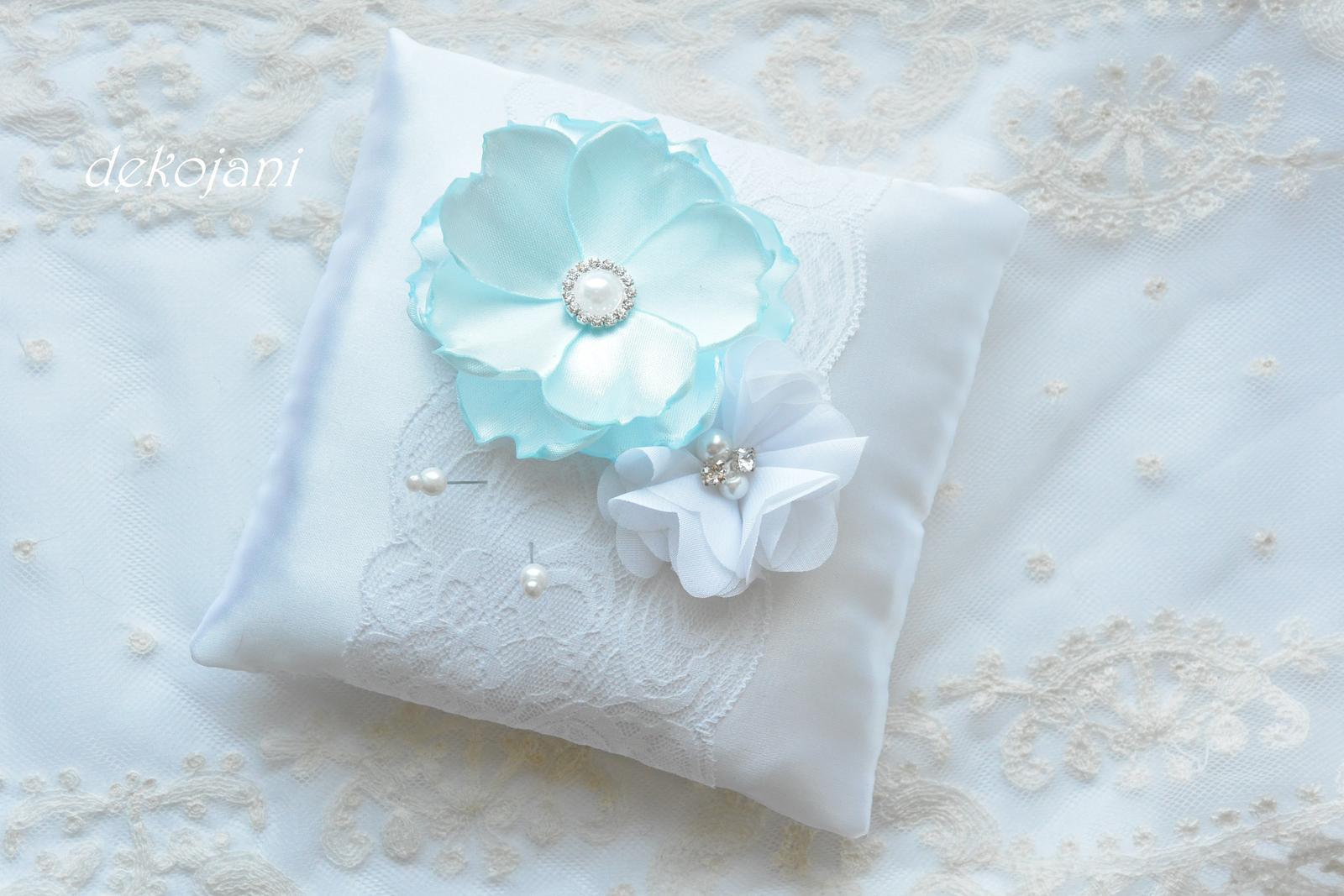 Svatební polštářek mint blue - Obrázek č. 1
