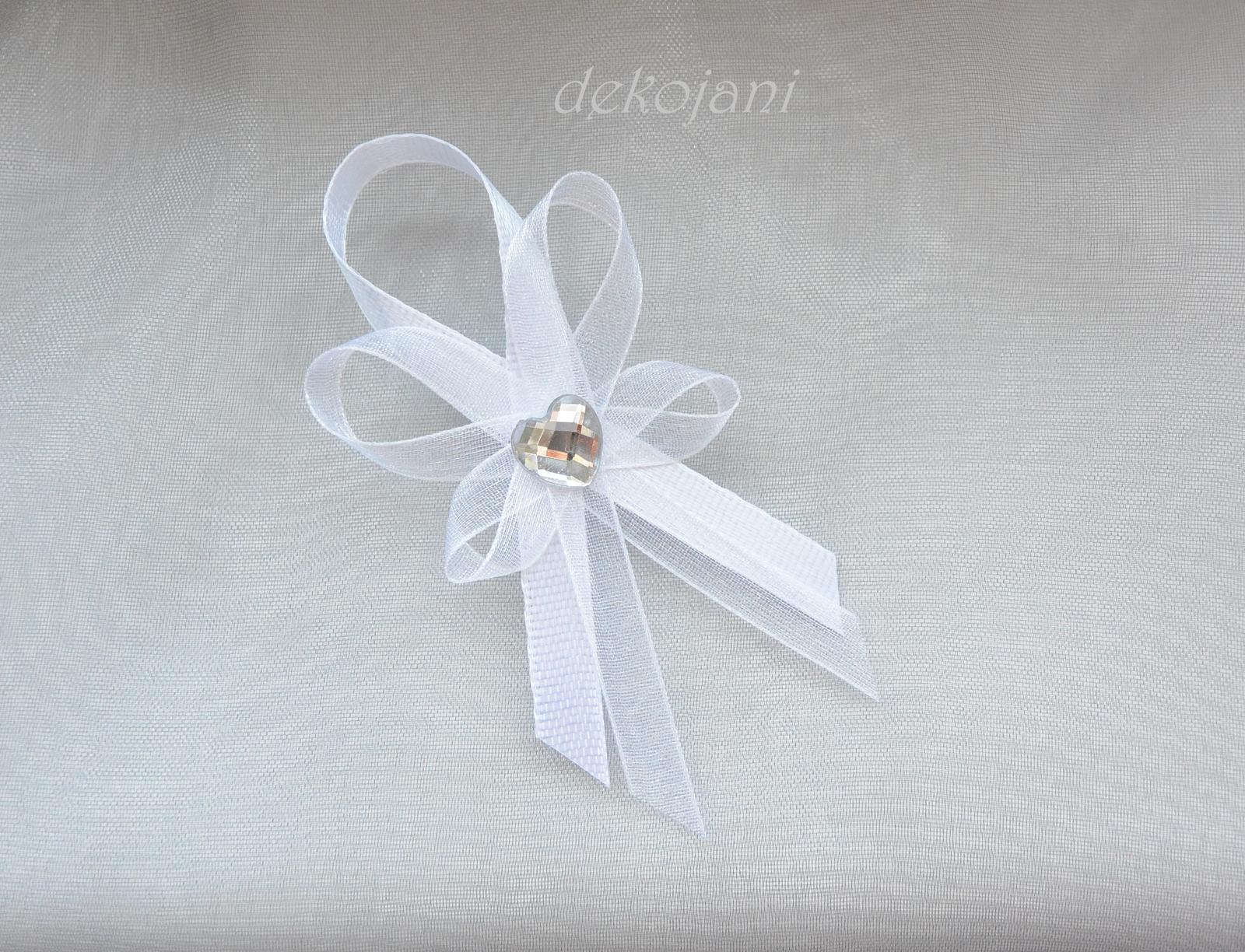 Bílý svatební vývazek aplikace na přání - Obrázek č. 1